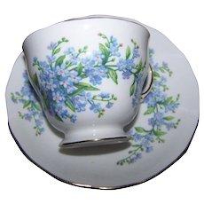 Lovely Vintage Royal Vale  Bone China For-Get-Me-Not Floral Tea Cup Saucer Set