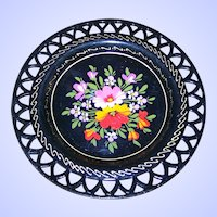 Lovely Small Vintage Tin Metal Ware Hand Painted Tole Reticulated  Plate Floral