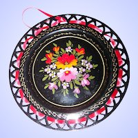 Small Reticulated Ribbon Metalware Hand Painted Floral Tole Plate