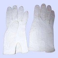 Designer  Guibert Freres Off White Ladies Kid Leather Gloves Size 7 Model Edeltan