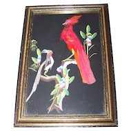 Vintage Wood Framed Feather Art Birds Mixed Media Painting