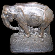Vintage Cast Iron Door Stop Single Bookend  Figural Elephant Trunk Down