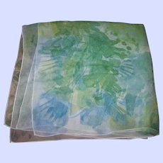 Sheer Silk Chiffon Vera Lady Bug Signature Watercolor Style Floral Scarf