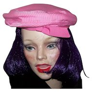 Pretty in Pink Glazed Cotton Beret Style Hat with Grosgrain Ribbon Half Bow Style