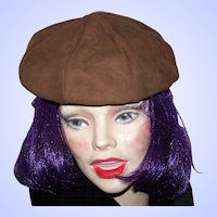 Lovely Stylish Vintage Brown Suede Style Ladies Beret Hat Cap