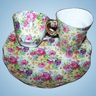 Charming Vintage Chintz Hostess Luncheon Set Tray Creamer Cup Saucer  JAPAN