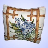 Pretty  Vintage Hoe Decor Accent Mid-Century  Barkcloth  Style Pillow Blue Floral Motif