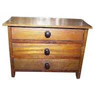 Charming Vintage Wooden Toy  Folk Art Salesman's ample Dresser Bureau