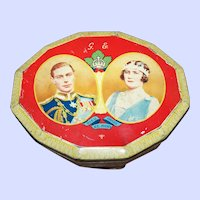 Portrait Double Royalty Queen King Tin Souvenir of Visit 1939  Harry Vincent  Blue Bird Advertising Tin