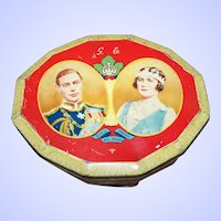 Portrait Double Royalty Queen King Tin Souvenir of Visit 1939  Harry Vincent  Blue Bird Advertising Tin