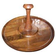 Mid-Century Modern Wooden  Lazy Susan Turn Table Vermillion Walnut USA