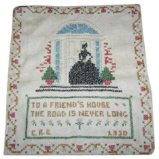 Circa 1930's Folk Art Hand Stitched  Cross Stitch Friendship Motto Sampler