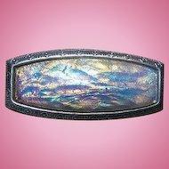 A Pretty Vintage Faux Fire Opal Foiled Glass Brooch / Pin