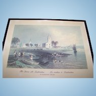 """Framed Print """" The Green At Fredericton La verdure a Fredericton """"W.H. Bartlett 1809-1854"""