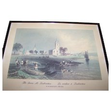 "Framed Print "" The Green At Fredericton La verdure a Fredericton ""W.H. Bartlett 1809-1854"