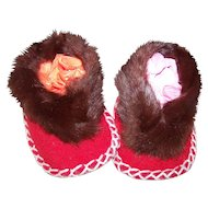 Charming Vintage Hand Crafted Stitched Red  Felt Baby Booties with Real Brown  Fur Trim