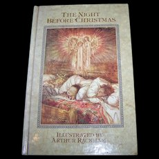 """Charming Vintage Hard Cover Book """" The Night Before Christmas """" Illustrated by Arthur Rackham"""