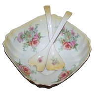Lovely Vintage Old Foley James Kent Staffordshire Made In England Floral Salad Bowl and Utensil Set