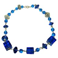 Lovely Deco Style Blue Glass Bead  Choker with Brass Decorative Spacer Beads