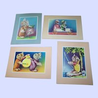 Lot of 4 Charming Vintage Kitty Cat In Clothing  Prints By Donald Art Co. Inc. USA