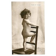 "Charming Collectible  Vintage Real Photograph Post Card  "" Soon Off To Bed """