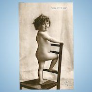 """Charming Collectible  Vintage Real Photograph Post Card  """" Soon Off To Bed """""""