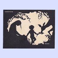 Charming Vintage Silhouette PostCard Genove VA  Signed M. Ernst