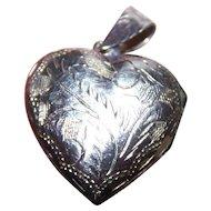Sweet Little Etched  925 Sterling Silver Heart Locket Pendant