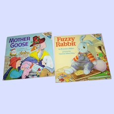 2 Charming Soft Cover Children's Books Fuzzy Rabbit and  Mother Goose