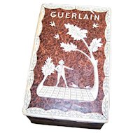 Vintage EMPTY Guerlain Perfume Box  1920's Era France Brown Harvest Scene Wood Paper  AS IS