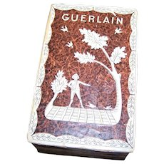 Vintage EMPTY Guerlain Perfume Box  1920's Era France Brown Harvest Scene Wood Paper  AS IS