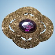 A Vintage Decorative Embossed Purple Amethyst Glass Stone Sash Pin  Original Clasp