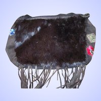 Decorative Vintage Boho Purse Rabbit Fur Suede Fringes