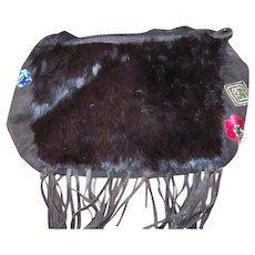 Decorative Vintage Boho Purse Rabbit Fur Suede Fringes