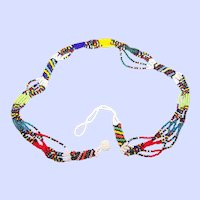 Fun Multi-Colored Glass Seed Bead Multi Strand Necklace Choker
