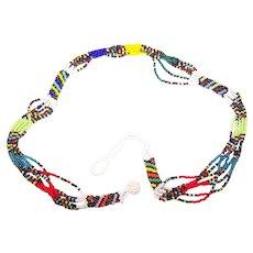 Fun Multi-Colored Glass Seed Bead Multi Strand Necklace Choker