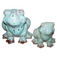 Crazy Cute Glazed Ceramic Frog Figurines Vintage Set
