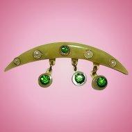 Tiny Delicate 1/2 Moon Camphor Celluloid Seed Pearl Rhinestone Flapper Girl Era Pin