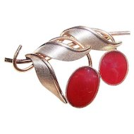 Designer Signed Van Dell Carnelian Stone Gold Filled Fruit Brooch Pin