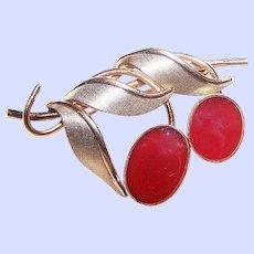 Designer Signed Van Dell Carnelian Stone Gold Filled Fruit Brooch Pin