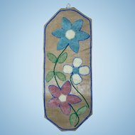 Pretty Vintage Hand Crafted Wall Art Floral Themed Textile Sculpture Style