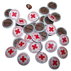 33 Vintage Celluloid Pin Back Water Safety Beginner Pinback Buttons and Cards Plus Metalware Enamel Pin