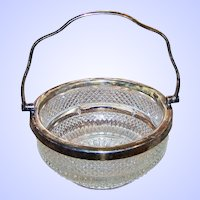 Lovely Early Pressed Glass Condiment Dish Bowl  Silverplate Handled and Rim
