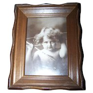 "Charming Vintage Framed Rescued Print Titled "" Cupid Awake """