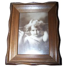 """Charming Vintage Framed Rescued Print Titled """" Cupid Awake """""""