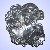 Vintage Large Elias Silver Pewter Art Nouveau Style Brooch Pin Maiden Flowing Hair Flowers