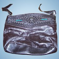 Gently Worn Patch Work Style Black Leather Purse With Blue Beads & Metal Studs
