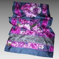Long Rectangular Wild Cat Leopard Print Floral Poly Silk Scarf Designer Signed Oscar