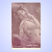 Lovely Vintage Paper Postcard  Portrait Famous Performer  ANNA HELD Hila P.C. Co.