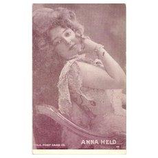 Lovely Vintage Paper Postcard  Portrait Famous Performer  ANNA HELD Hila P.C. Co.